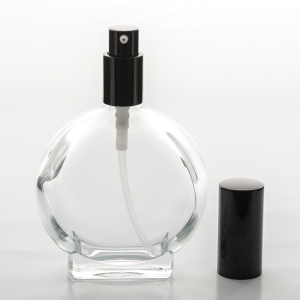 3.4 oz (100ml) Watch-Shaped Clear Glass Bottle with Treatment Pumps
