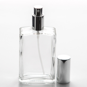 3.4 oz (100ml) Square Clear Glass Bottle with Fine Mist Spray Pumps