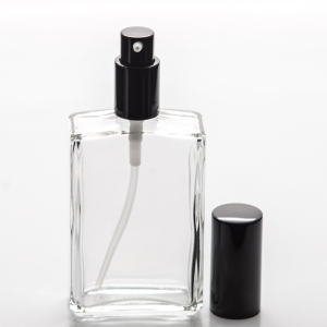 3.4 oz (100ml) Square Clear Bottle with Treatment Pump