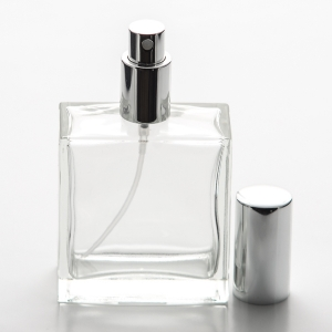 3.4 oz (100ml) Square Flint Glass Bottle with Spray Pump or Screw-on Caps