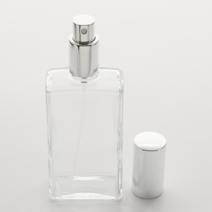 3.4 oz (100ml) Slim Rectangular Glass Spray Bottle with Silver Pump