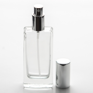 1.8 oz (55ml) Tall Elegant Square Clear Glass Bottle (Heavy Base Bottom) with Fine Mist Spray Pump