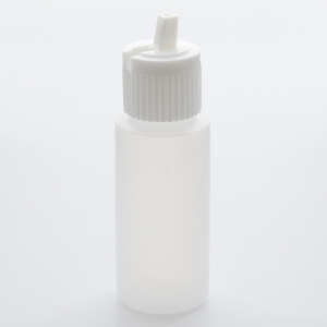 1 oz High Density Plastic Cylinder Bottle with White Flip-Top Cap