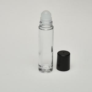 Roll-On Cylinder (1.7 oz) Clear Glass Bottle with Black Cap
