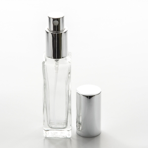 1 oz (30ml) Square Tall Clear Glass Bottle with Fine Mist Spray Pumps