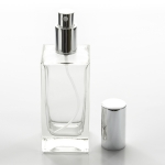 Tall Square 3.4 oz (100ml) Clear Glass Bottle with Spray Pump or Screw-on Caps