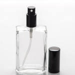 3.4 oz (100ml) Square Clear Glass Bottle with Treatment Pumps