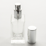 1.7 oz (50ml) Square Flint Clear Glass Bottle with Spray Pumps or Screw-on Caps