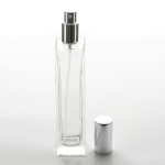 Elegant Super Tall Square 3.4 oz (100ml) Clear Glass Bottle with Fine Mist Spray Pumps