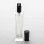 3.4 oz (100ml) Elegant Super Tall Square Clear Glass Bottle with Treatment Pumps