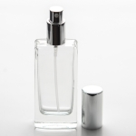 1.8 oz (55ml) Tall Elegant Square Clear Glass Bottle Heavy Base Bottom with Fine Mist Spray Pump