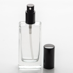 1.8 oz (55ml) Tall Elegant Square Clear Glass Bottle Heavy Base Bottom with Treatment Pump