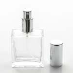 1.7 oz (50ml) Square Flint Glass Bottle with Spray Pumps or Screw-on Caps