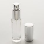 Cylinder Bottle 1/2 oz (15ml) Clear Glass with Spray Pumps or Screw-on Caps