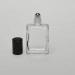 Flat Square 1/2 oz  (15ml) Roll-on Clear Glass Bottle (Stainless Steel Roller)