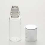 Slim Roll-On 3ml Clear Glass with Stainless Steel Roller and Silver Cap