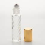 Roll-On Cylinder 1/3 oz  (10ml) Spiral Glass Bottle (Stainless Steel Roller with Silver or Gold Cap)