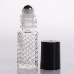 Roll-On 1/6 oz (5ml) Spiral Glass Bottle with Stainless Steel Roller