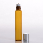 Slim Roll-On (1/3 oz) 10ml Amber Glass with Stainless Steel Roller and Silver Cap