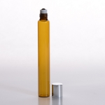 Slim Roll-On (1/2 oz) 15ml Amber Glass with Stainless Steel Roller and Silver Cap