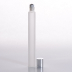Slim Roll-On (1/2 oz) 15ml Frosted Glass with Stainless Steel Roller and Silver Cap