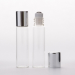 Slim Cylinder Roll-On 5ml (1/6 oz) Clear Glass Bottle with Stainless Roller and Silver Cap