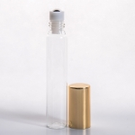 15ml (1/2 oz) Clear Glass Tube Roll-on Bottle with Stainless Steel Roller and Gold or Silver Cap