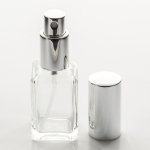 Short Square 1 oz (30ml) Clear Glass Bottle with Fine Mist Spray Pumps