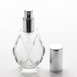 Diamond Cut 2 oz (60ml) Clear Glass Bottle with Fine Mist Spray Pumps