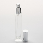 1.7 oz (50ml) Deluxe-Sharp Square Clear Glass Bottle (Heavy Base Bottom) with Fine Mist Spray Pumps