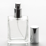 2 oz (60ml) Square Clear Glass Bottle with Fine Mist Spray Pumps