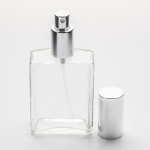 4 oz (120ml) Square Clear Glass Bottle with Fine Mist Spray Pumps