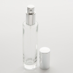 1.7 oz (50ml) Slim Clear Glass Cylinder Bottle (Heavy Base Bottom) with Fine Mist Spray Pumps