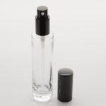 1.7 oz (50ml) Slim Clear Glass Cylinder Bottle (Heavy Base Bottom) with Treatment Pump