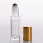 Roll-On Tall Cylinder 1/6 oz (5ml) Clear Glass Bottle (Stainless Steel Roller) with Color Cap