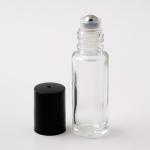 Roll-On Tall Cylinder 1/6 oz (5ml) Clear Glass Bottle (Stainless Steel Roller)