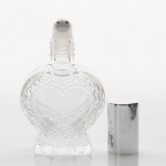 1/2 oz (15ml) Heart-Shaped Clear Glass Roll-on Bottle (Stainless Steel Roller and Color Caps)