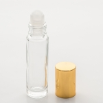 Roll-On Cylinder 1/3 oz (10ml) Clear Glass Bottle (Plastic Roller with Silver or Gold Cap)