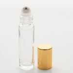 Roll-On Cylinder 1/3 oz  (10ml) Clear Glass Bottle (Stainless Steel Roller with Silver or Gold Cap)