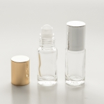 Roll-On Cylinder 1/6 oz (5ml) Clear Glass Bottle (Plastic Roller with Silver or Gold Cap)