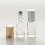 Roll-On Cylinder 1/6 oz  (5ml) Clear Glass Bottle (Stainless Steel Roller with Silver or Gold Cap)