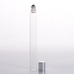 Slim Roll-On (1/2 oz) 15ml Clear Glass with Stainless Steel Roller and Silver Cap