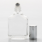 1/2 oz (15ml) Shoulder-Shaped Clear Glass Bottle with Stainless Steel Roller and Color Cap