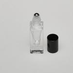 5ml (1/6 oz) Clear Glass Deluxe Square Bottle (Heavy Base Bottom) with Stainless Steel Roller and Gold or Silver Cap