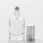 1/3 oz (10ml) Roll-On Short Cylinder Clear Glass Bottle (Heavy Base Bottom) with Stainless Steel Roller and Color Cap