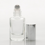 1/6 oz (5ml) Roll-On Short Cylinder Clear Glass Bottle (Heavy Base Bottom) with Stainless Steel Roller and Color Cap