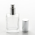 Square Flat 1 oz (30ml) Clear Glass Bottle with Fine Mist Spray Pumps